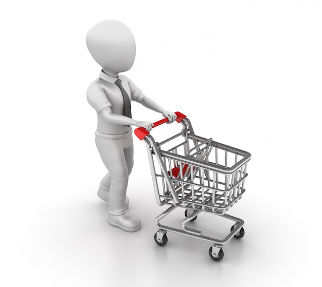 Rendering illustration of cartoon business character with shopping cart