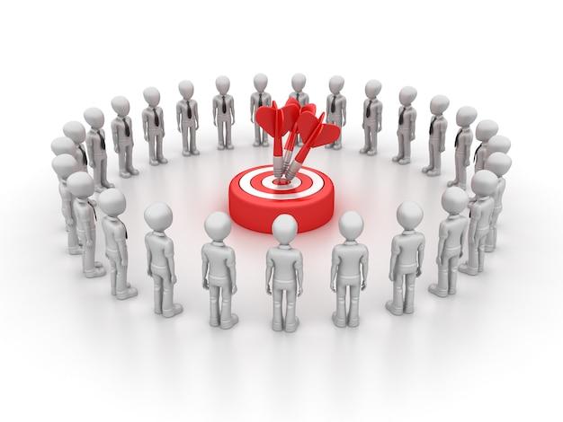 Rendering illustration of cartoon business teamwork with target
