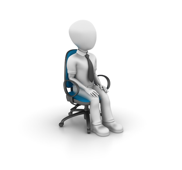 Rendering illustration of cartoon character on the chair