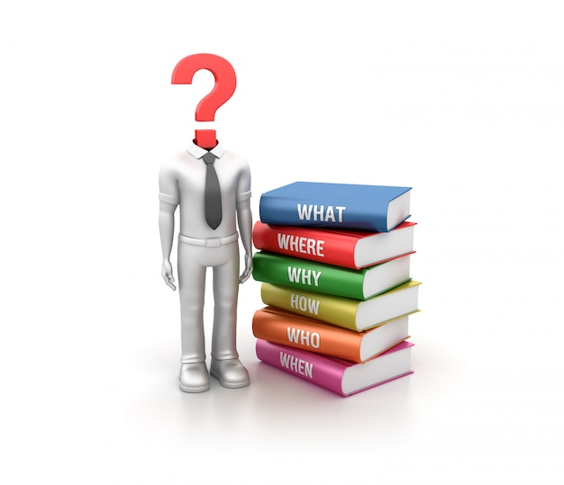 Rendering illustration of cartoon character with question books