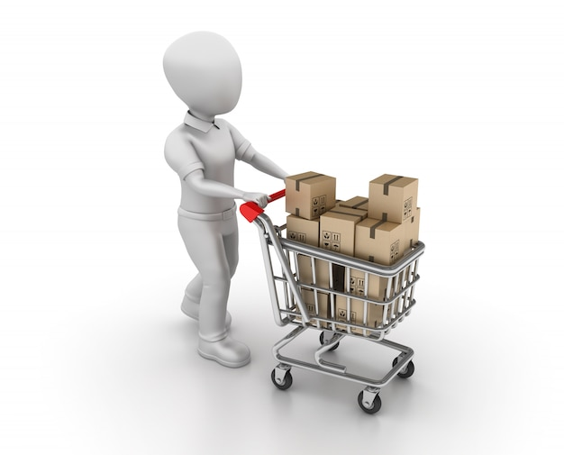 Rendering illustration of cartoon character with shopping cart and cardboard boxes