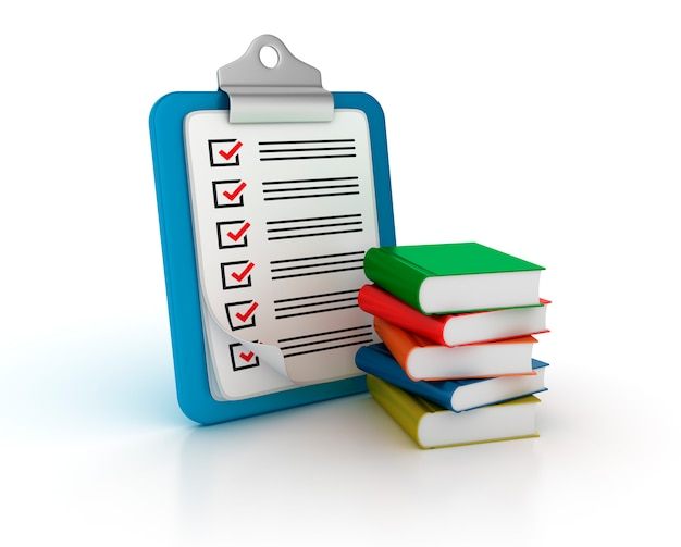 Rendering illustration of clipboard with checklist and books