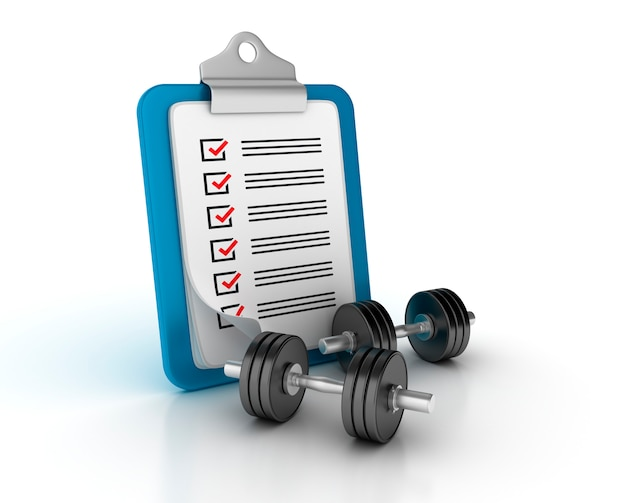 Rendering illustration of clipboard with checklist and dumbbell