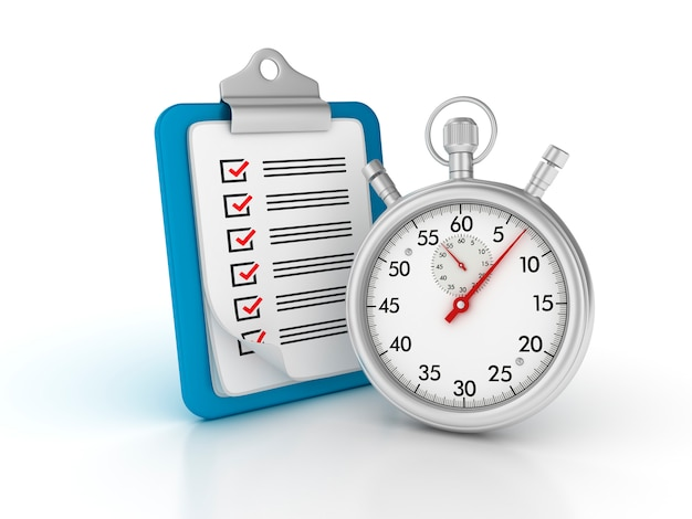 Rendering illustration of clipboard with checklist and stopwatch