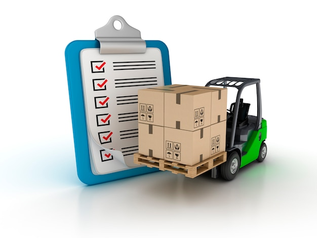Rendering illustration of clipboard with forklift truck