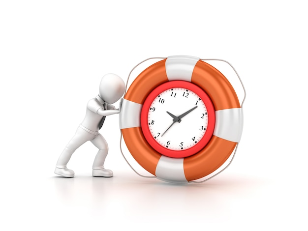 Rendering illustration of clock with cartoon business character and life belt