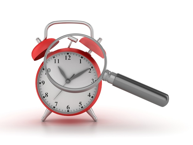 Rendering illustration of clock with loupe