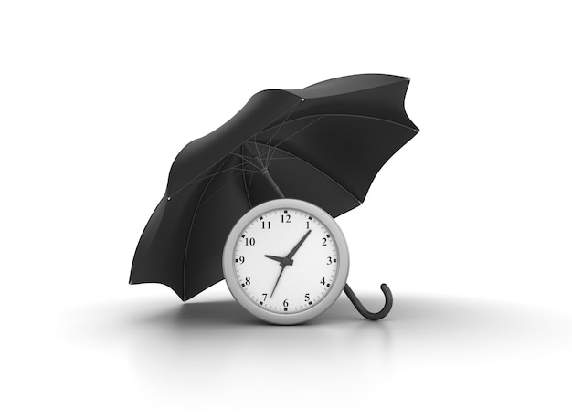 Rendering illustration of clock with umbrella