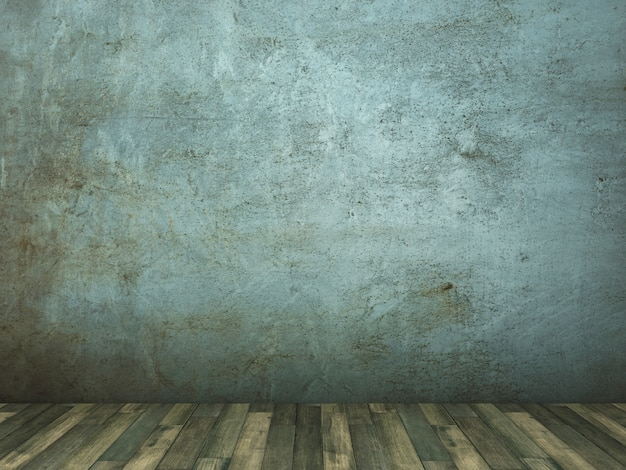 コンクリート壁と木製の床のレンダリング図