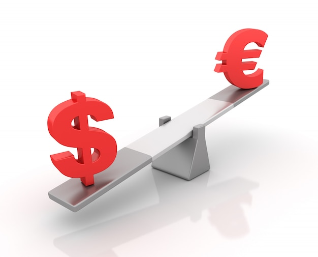 Rendering illustration of dollar and euro sign balancing on a seesaw