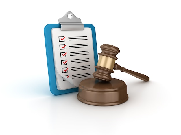 Rendering illustration of gavel with checklist clipboard