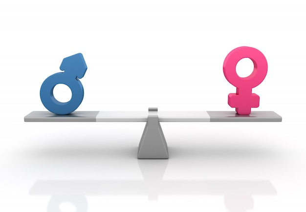 Rendering illustration of gender symbols balancing on a seesaw