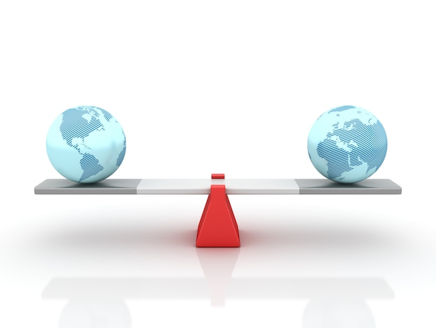 Rendering illustration of globes world balancing on a seesaw