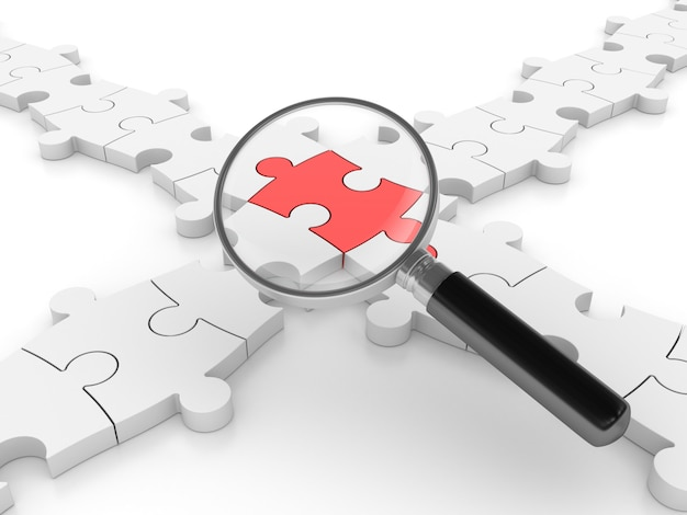 Rendering illustration of jigsaw puzzle pieces with magnifying glass
