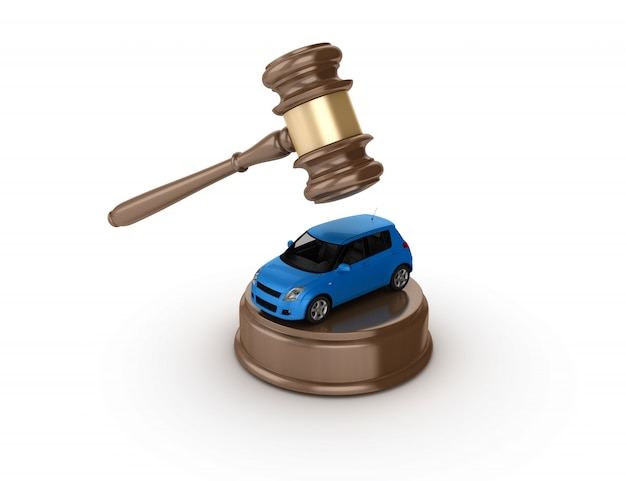 Rendering illustration of legal gavel with a toy car