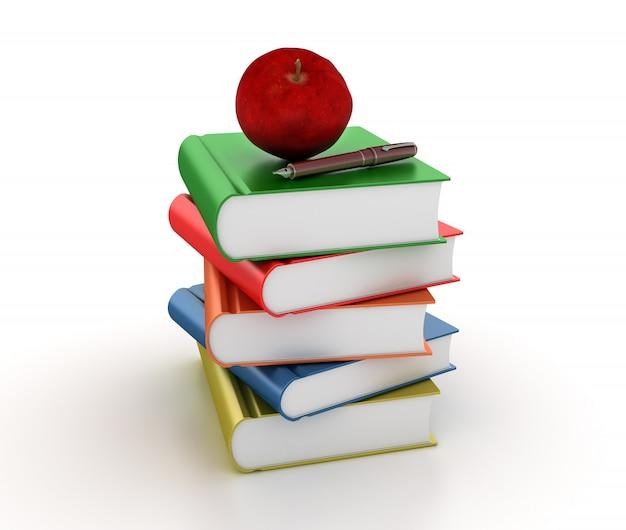 Рендеринг иллюстрации кучу книг с яблоком