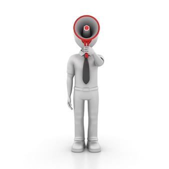 Рендеринг иллюстрация мультипликационный персонаж с мегафоном