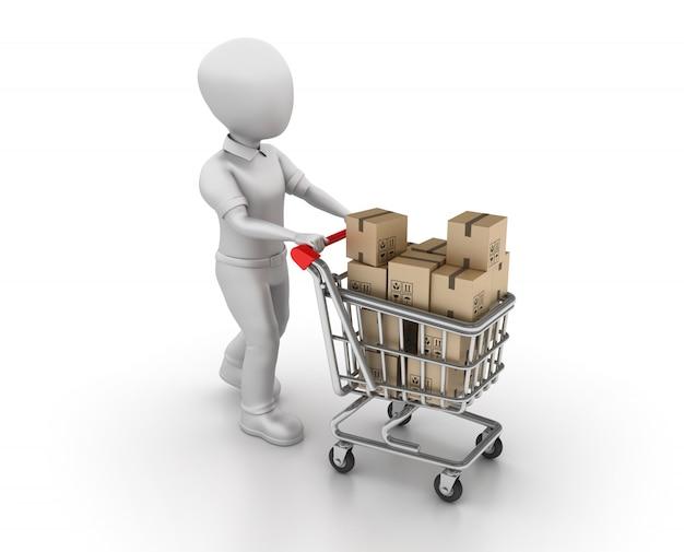 Оказание иллюстрации мультипликационный персонаж с корзиной для покупок и картонные коробки
