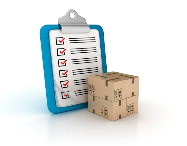 チェックリストと段ボールボックスを含むクリップボードのレンダリング図