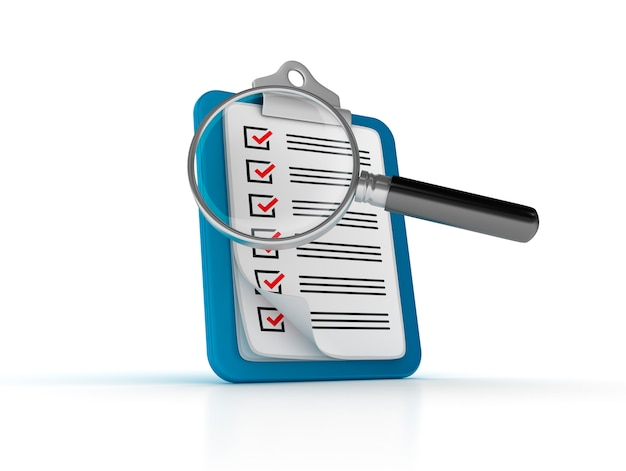 チェックリストとルーペを含むクリップボードのレンダリング図