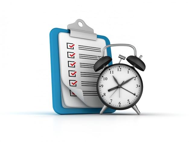 チェックリストクリップボードを使用した時計のレンダリング図