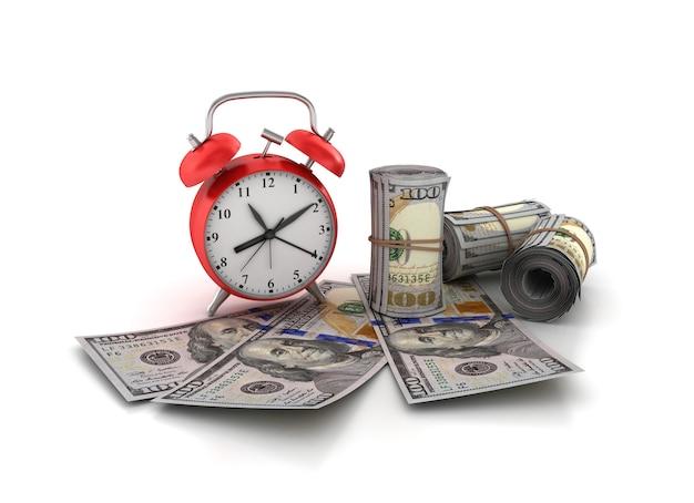ドル札と時計のイラストをレンダリング