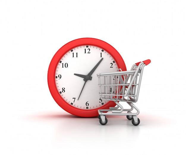쇼핑 카트와 시계의 렌더링 그림