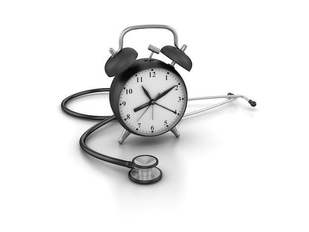 Рендеринг иллюстрация часов со стетоскопом