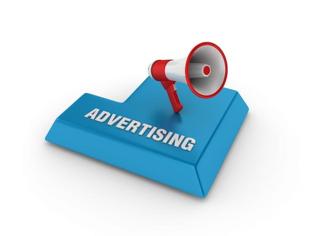 Рендеринг иллюстрация enter key с мегафоном и рекламным словом