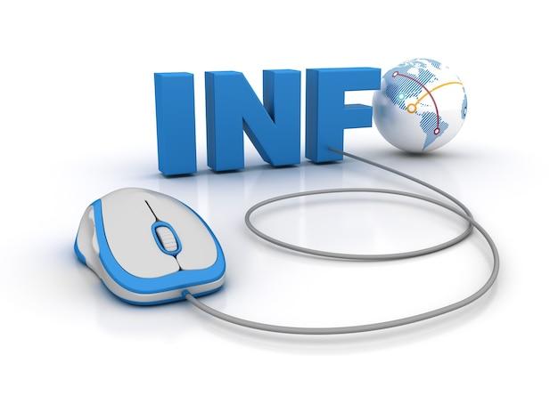 Визуализация иллюстрации слова info с компьютерной мышью и глобусом