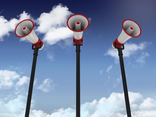 Рендеринг мегафонов на небе
