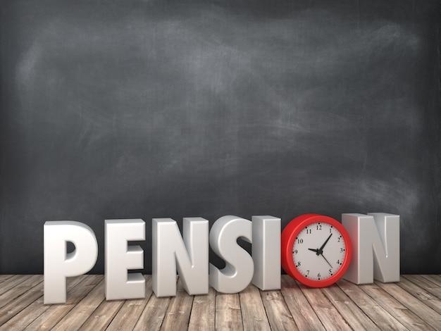 Рендеринг иллюстрация пенсионного слова с часами на доске