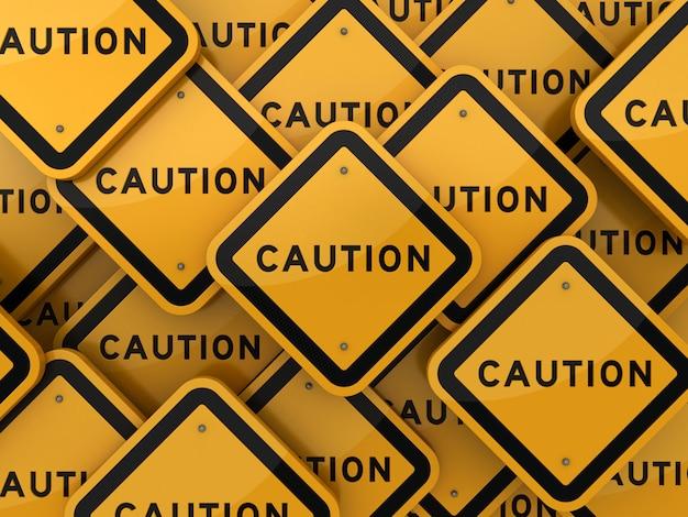 Рендеринг иллюстрация дорожного знака с словом внимание