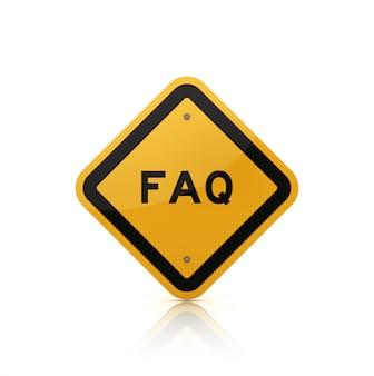 Рендеринг иллюстрация дорожного знака со словом faq