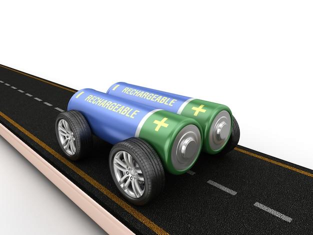 바퀴에 배터리와 도로의 렌더링 그림