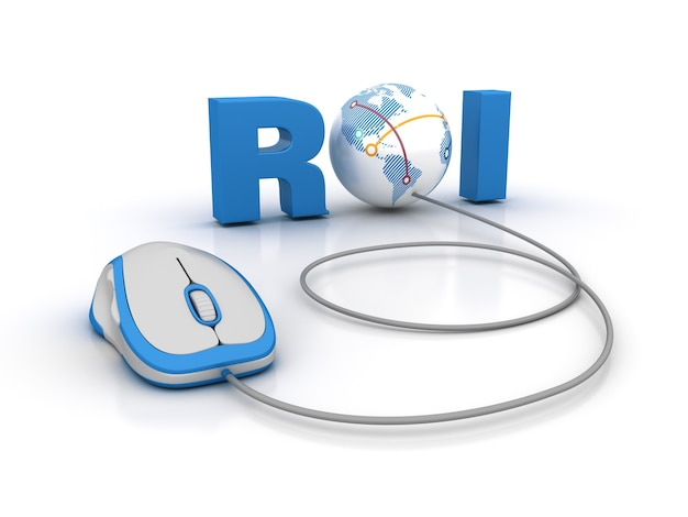 Визуализация иллюстрации слова roi с компьютерной мышью и глобусом