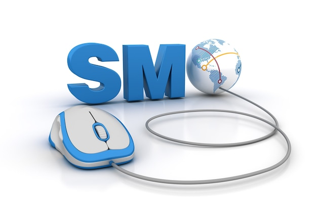 Визуализация иллюстрации слова smo с компьютерной мышью и глобусом
