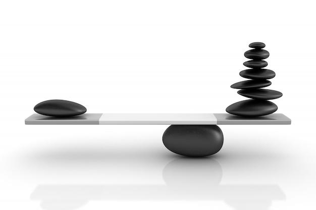 シーソー上でバランスをとる石のレンダリング図