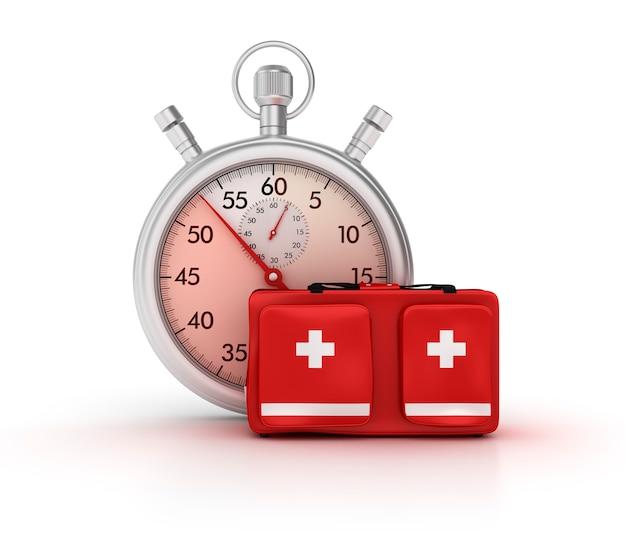 Оказание иллюстрации секундомер с сумкой первой помощи