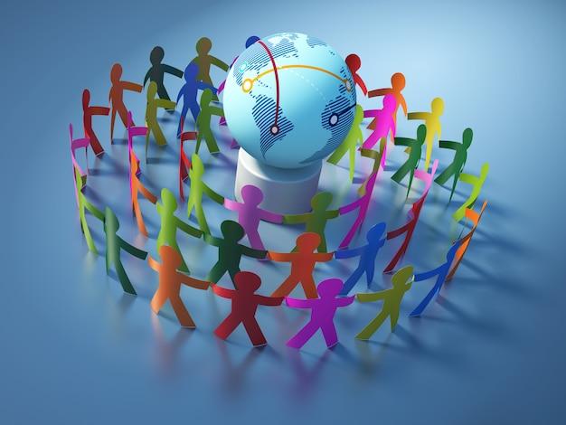 Рендеринг иллюстрации коллективной работы пиктограммы людей с глобусом мир
