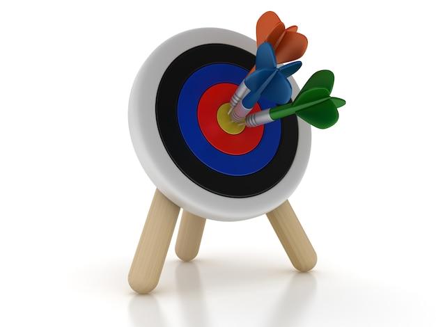 Рендеринг иллюстрация цели и дартс