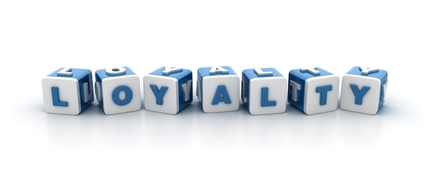 Визуализация иллюстрации блоков плитки со словом лояльность