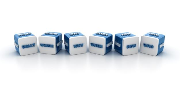Рендеринг иллюстрации блоков плитки со словами вопросы