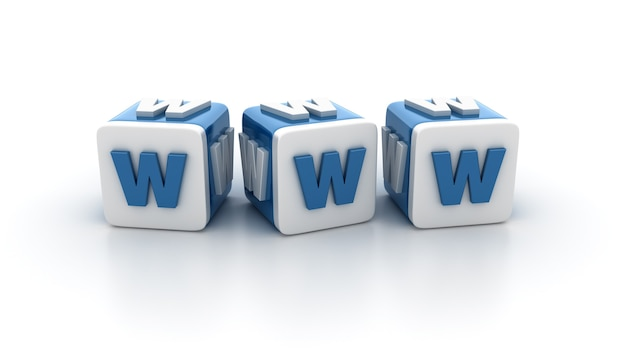 Визуализация иллюстрации блоков плитки с буквами www