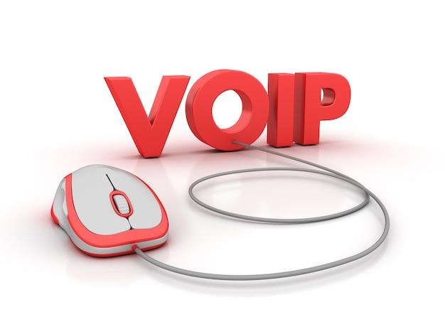 Визуализация иллюстрации слова voip с помощью компьютерной мыши
