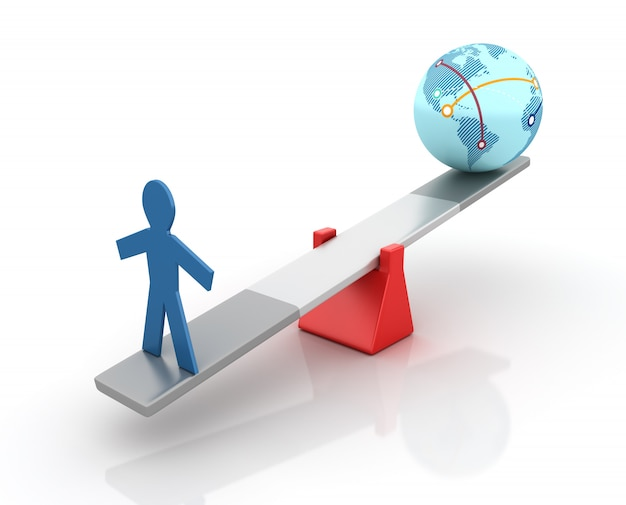 Rendering illustration of pictogram person and globe world balancing on a seesaw