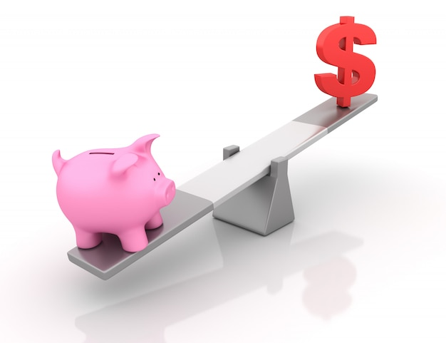 Rendering illustration of piggy bank and dollar sign balancing on a seesaw