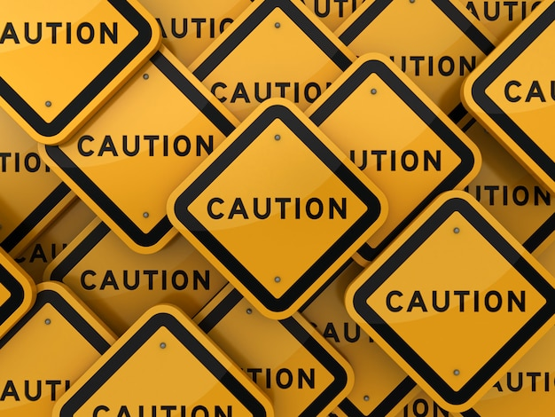 Rendering illustration of road sign with caution word