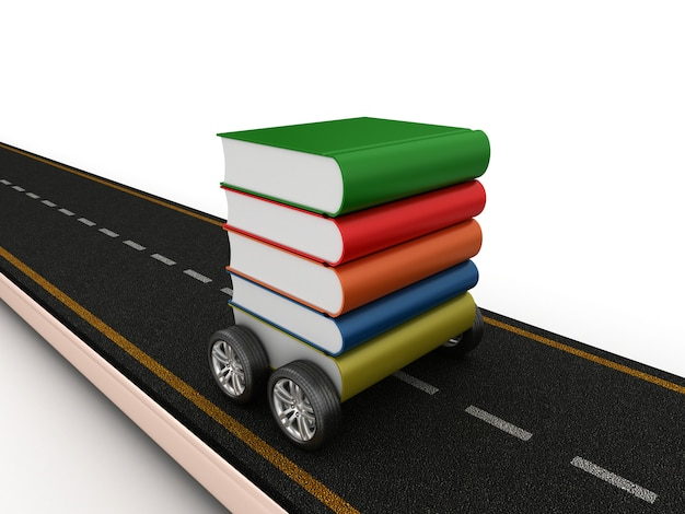 Rendering illustration of road with books on wheels