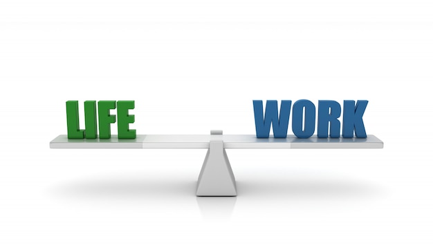 Rendering illustration of seesaw with life work words